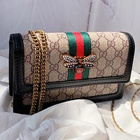 GUCCI Fashion New Stripe Bee More Letter Leather Chain Shoulder Bag Crossbody Bag