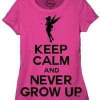 Disney Peterpan Keep Calm Tinkerbell Juniors T-shirt L