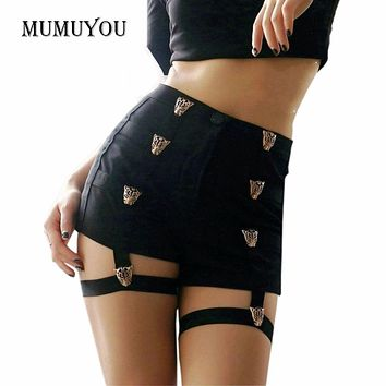 Sexy Ladies Shorts High Waist Punk Rock Bandage Hollow Out Dance Show Party Club Hot Short Pants 200-955