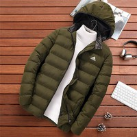 ADIDAS autumn and winter models slim thick casual men's sports hooded cotton clothes Green