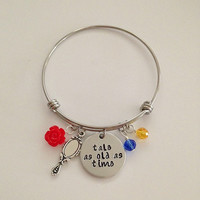 """Disney inspired Beauty and the Beast bangle bracelet """"tale as old as time"""" Belle Disney jewelry charm bracelet"""