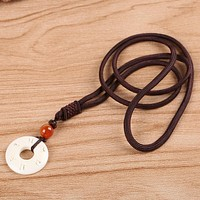 Women Handmade Simple Rope Chain With Handcarved Mantra Sign Necklace