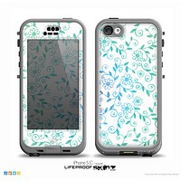 The White with Blue & Green Floral Thin Laced Skin for the iPhone 5c nüüd LifeProof Case