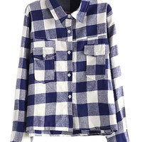 Blue Plaid Pocket Pointed Flat Collar Long Sleeve Blouse