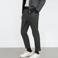 CHAMBRAY EFFECT TROUSERS