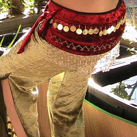 Belly Dance Hip Scarf in Red Velvet with gold coins and by Apia