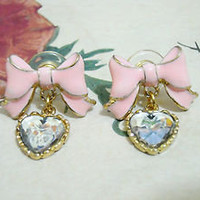 Girl Kawaii Jewelry Ear Ring Pink Butterfly Bow Heart Charm Dangling Earrings