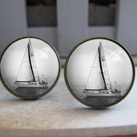 Mens Cuff Links  Antique Sailing Boat Design by Laurenloveetsy