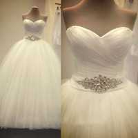 Free Shipping 2017 New Arrival Bridal White Ivory Wedding Dress bridal Gown Custom Size 4 6 8 10 12 14 16 18
