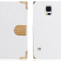 Lizard Print Faux Leather & Alloy Flip Case for Samsung Galaxy S5 I9600 (White)