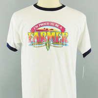1980's Vintage / Proud to Be a Farmer / Roach Transfer / 1982 / Ringer T Shirt / Farmer Shirt / Vintage Roach Transfer / Size L / 42