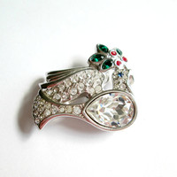 Swarovski Crystal Brooch Peace Dove Pin / Vintage Retired Collectible Jewery