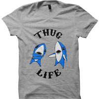 LEFT SHARK SHIRT THUG LIFE LEFT SHARK #THUGLIFE SUPERBOWL SHIRT KATY PERRY PERFORMANCE #LeftShark #KatyPerry BIRTHDAY GIFTS CHRISTMAS GIFTS from CELEBRITY COTTON