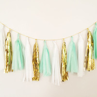Mint Green and Gold Tassel Garland 17 Tassels - Party Decor, Wedding Decor, Birthday Party, Photo Backdrop, Baby Shower and Party Decoration