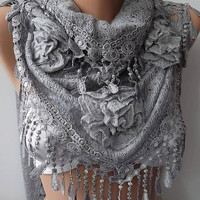 Gorgeous Scarf   Elegant and Classy ...light gray....NEW