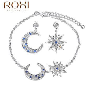 Roxi Romantic Star and Moon Design Bracelet With Earrings Set Cubic Zircon Fashion Jewelry Sets Best For Engagement Wedding Gift