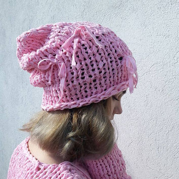 Summer Slouchy Hat  Cotton Baby Pink Hat  Losse knit Hat   Women's summer Soft Hat  Knit Hat   Loose knit Cotton Soft Hat   Ready to ship