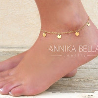 Dainty Coin Charms Anklet, Gold Coin Anklet, Gold Or Silver, Delicate Gold Anklet, Layering Anklet, Gold Foot Jewelry, Disc Ankle Bracelet.