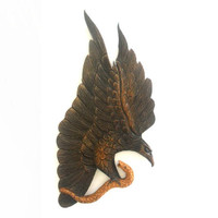 """Natural Teak Wood Carving Of Eagle Catch A Fish  Art Home Decor Wall Hanging Handcrafted Hand Carved 14""""x7.5"""""""