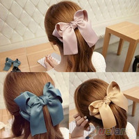 Satin Ribbon Bow Hair Clip - 7 Colors