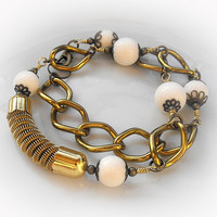 Original wire wrapped brass bracelet-necklace two in one with white corals and chunky chain