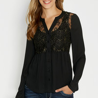 blouse with goldtone metallic stitched lace