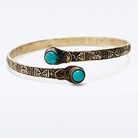 Turquoise Stone Arm Cuff in Gold - Urban Outfitters