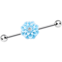 Clear Gem Aqua Flowering Carnation Industrial Barbell | Body Candy Body Jewelry