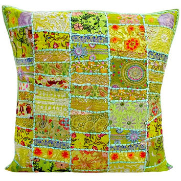 24x 24 Green Decorative throw Pillow Cover, Patchwork Throw Pillow, Indian vintage Pillow, Ethnic Pillow Cover, Large Pillow for sofa couch