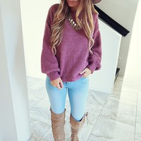 Don't Rush Sweater: Dusty Berry