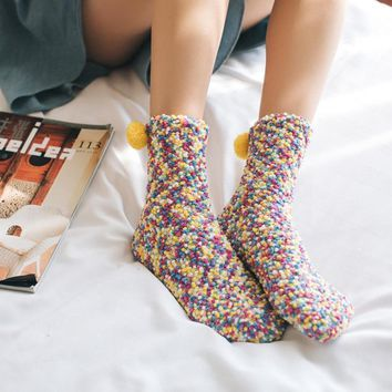 9 Color Style Winter Women Funny Thick Wool Socks Rainbow Ladies Cute Socks Art female Kawaii Cotton Warm Socks with Hair Ball