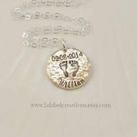 Baby Footprints Necklace, Baby Name and Birth date Necklace, Baby Feet Necklace, Mother's Necklace, Hand Stamped Personalized Jewelry