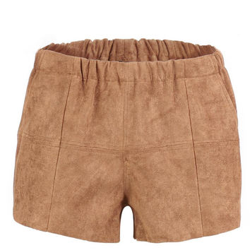 Brown Shorts in Faux Suede
