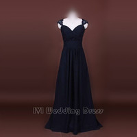 Charming Black Evening Dress, Long Chiffon and Lace Prom Dress