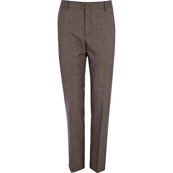 River Island MensBrown tiny houndstooth skinny suit pants