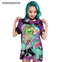 JESSINGSHOW Brand New Summer Women T-shirt Printed Alien Playground Fashion O-Neck Short Sleeve Loose Tee Tops Shirt Femme