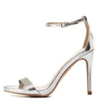 Silver Qupid Metallic Single Strap Heels by Qupid at Charlotte Russe