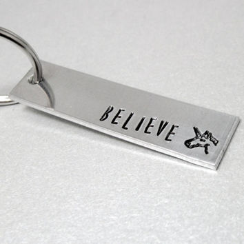 Personalized Unicorn  Keychain - Believe - Back can be customized with name or date