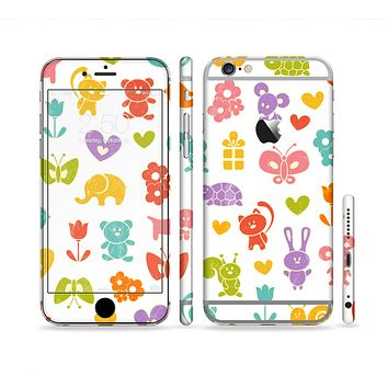 The Furry Fun-Colored Critters Pattern Sectioned Skin Series for the Apple iPhone 6 Plus