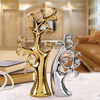 Modern Creative Gold and Silver Ceramics Crafts Ornaments Bring Money And Love Home Decoration Accessories Living Room Decor