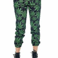 Womens Marijuana Weed All Over Sublimation Print Twill Joggers