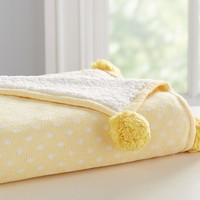 Dot Knit Sherpa Baby Blanket