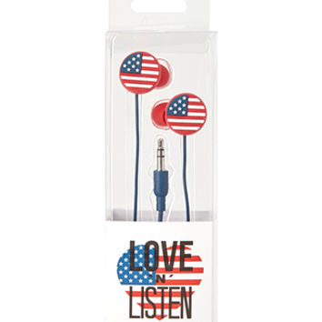 FOREVER 21 American Flag Headphones Blue/Red One
