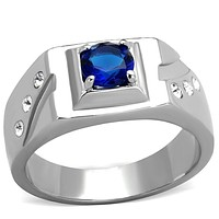 Mens Fashion Rings TK1929 Stainless Steel Ring with Synthetic