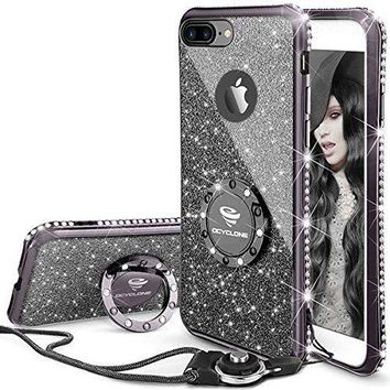 iPhone 7 Plus/ 8 Plus Case, Glitter  Case with Kickstand, Diamond Bumper  Soft Protective
