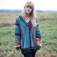 90s Vintage Abstract Coogi Sweater - L