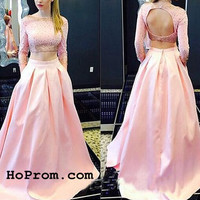 Cute Two Piece Long Prom Dresses Two Piece Evening Dress