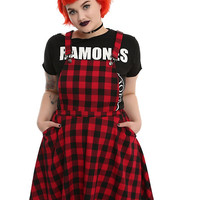 Plaid Overall Dress Plus Size