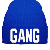 GANG EMBROIDERY HAT - Beanie Cuffed Knit Cap