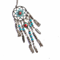 Silver Dream Catcher Necklace Romantic Painted Rose Boho Funky Jewelry FREE SHIPPING